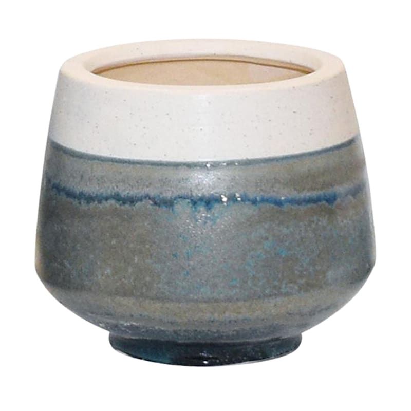 7in. Indoor Ceramic 2-Tone White/Blue/Green Reactive Glazed Pot W/Base