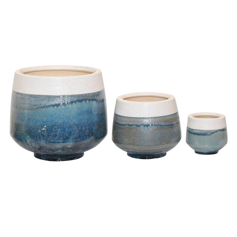 4in. Indoor Ceramic 2-Tone White/Blue/Green Reactive Glazed Pot W/Base