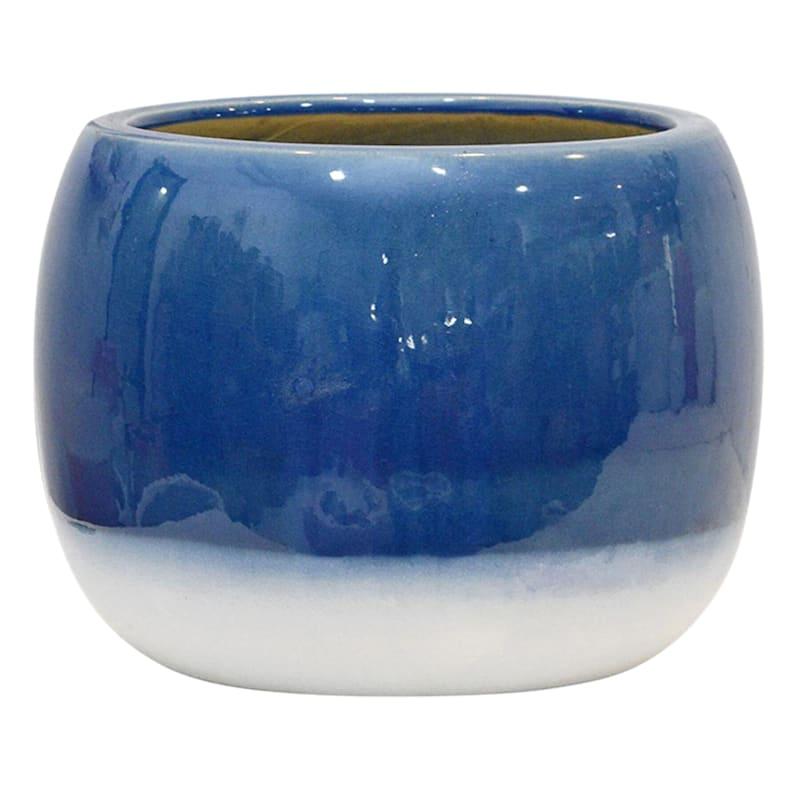 11in. Indoor Ceramic 2-Tone Navy Blue/White Glazed Ball Shape Pot
