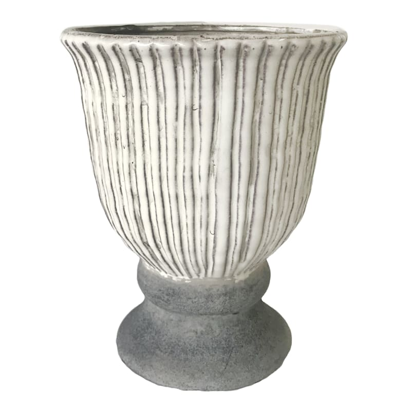 Grey Stripe Urn Handmade Ceramic Round