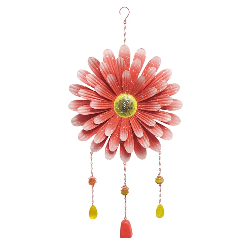 Metal Red Flower Suncatcher