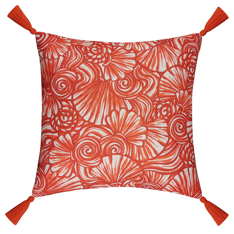 18in. Red Seashell Pattern Throw Pillow with Tassels