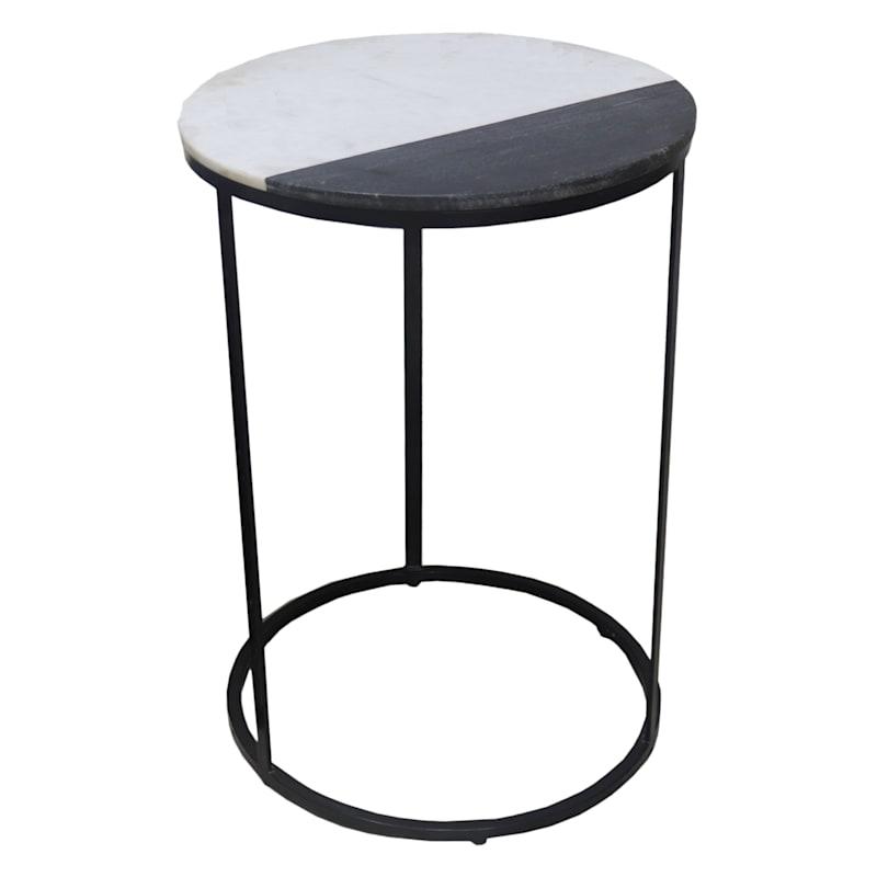 26in. Black/White Marble Nesting Table