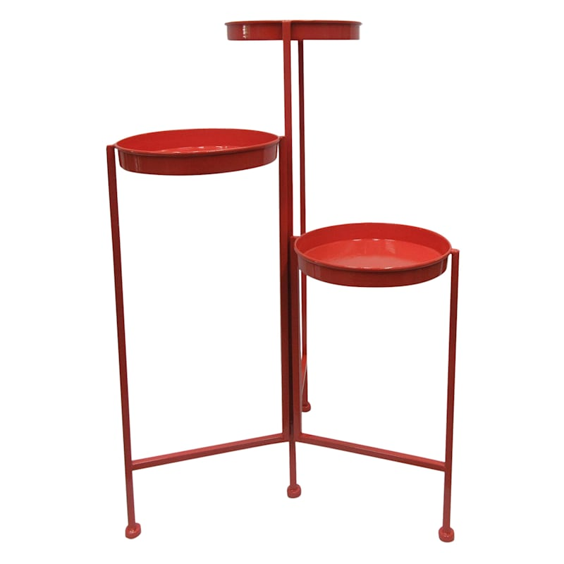 Metal Tier Folding Plant Stand Red