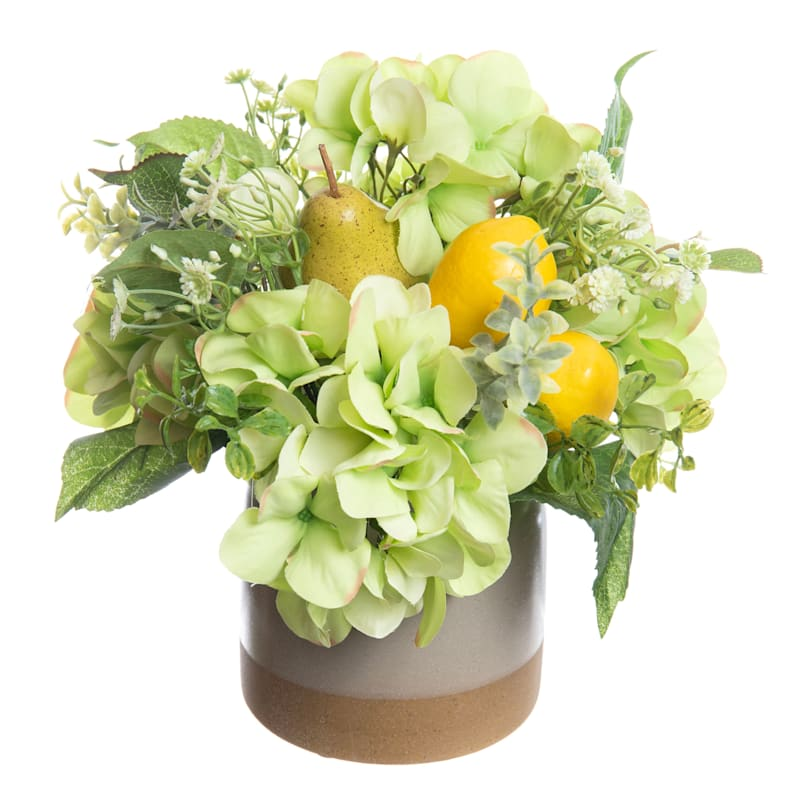 Hydrangea/Lemon Arrangement in Ceramic Pot 12in.
