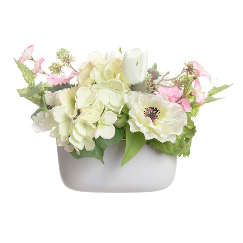 10.5in. Hydrangea/Tulip Arrangement in Ceramic Pot