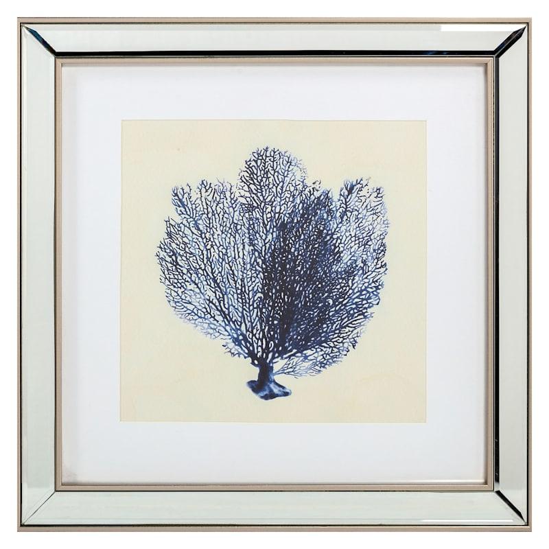 16.5x16.5 Blue Coral Framed Art Under Glass