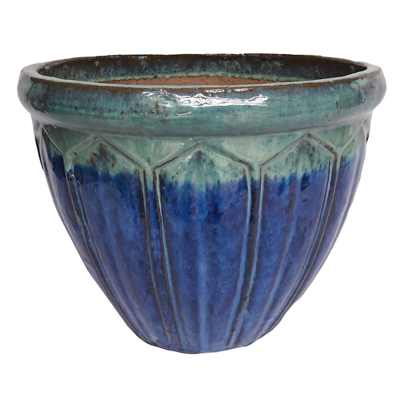 7in. Glazed Pot Blue/Green Small