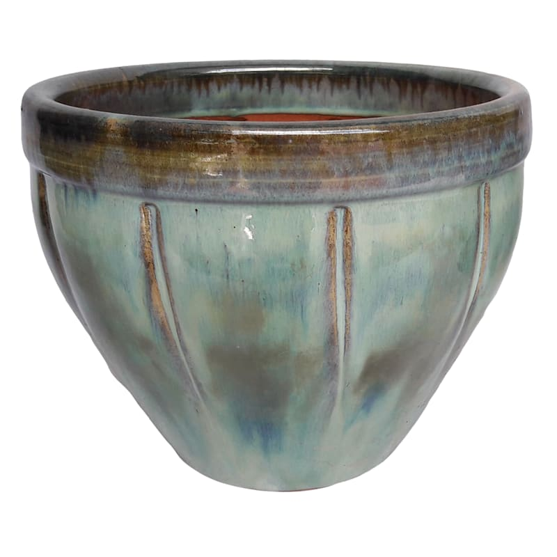 15in. Glazed Pot Brown/Green Large