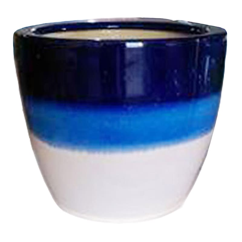 Metallic Blue Stripes Pot