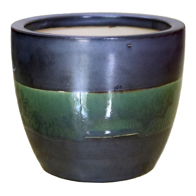 Metallic Green Stripe Pot