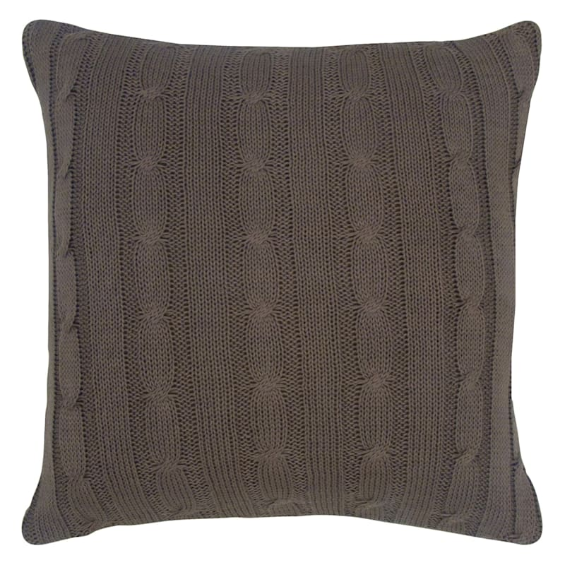 BROWN KNIT PILLOW 18X18