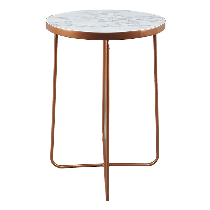 GLD MTL WOOD TOP SM ACC TABLE