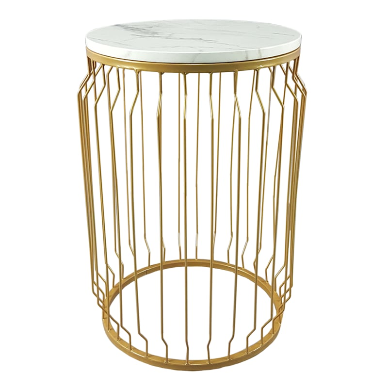 GLD MTL WIRE BASE DRUM TABLE