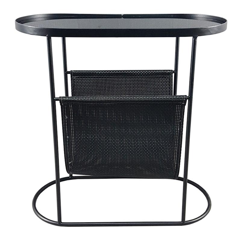 GLASS TOP TABLE W/ MAGAZINE RA
