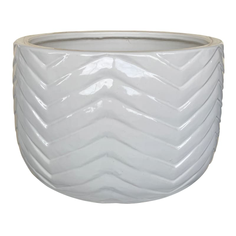 Herringbone Ceramic Planter 15.4in. White