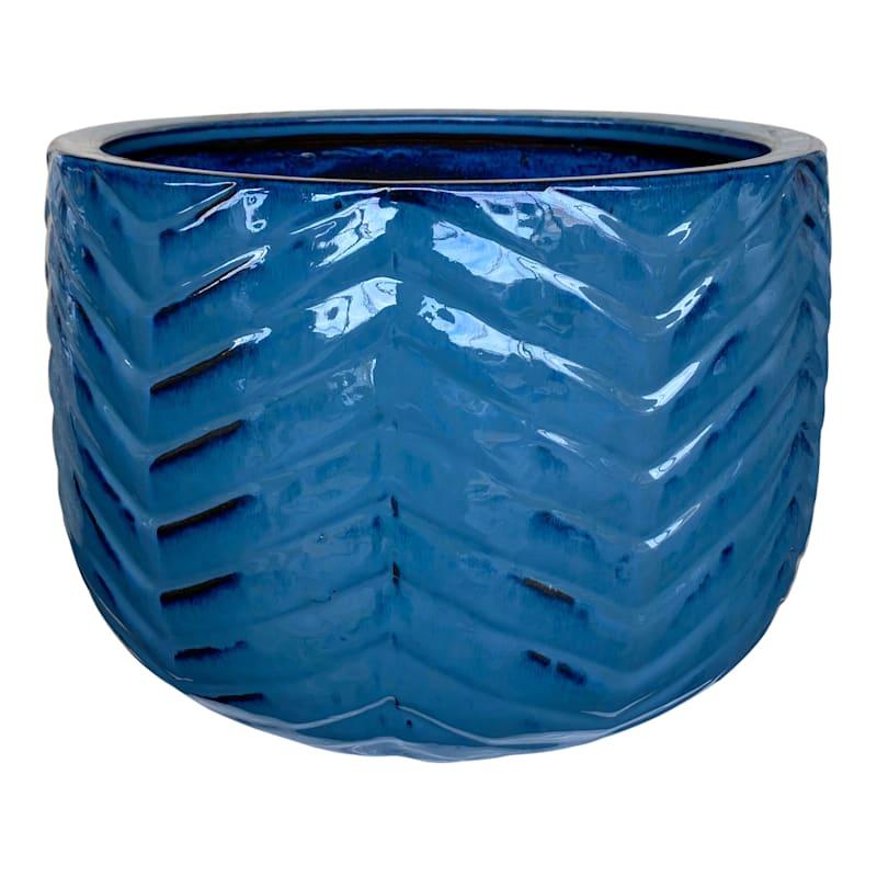 Herringbone Ceramic Planter 15.4in. Mist Black