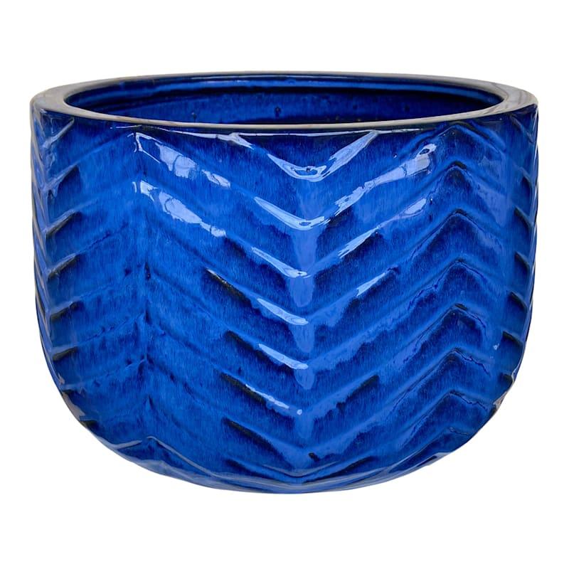 Herringbone Ceramic Planter 11.8in. Blue