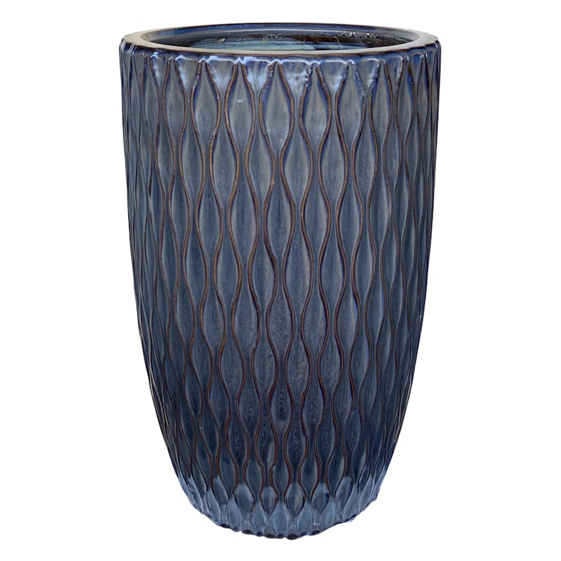Quilted Ceramic Planter 11.8in. Mist Black