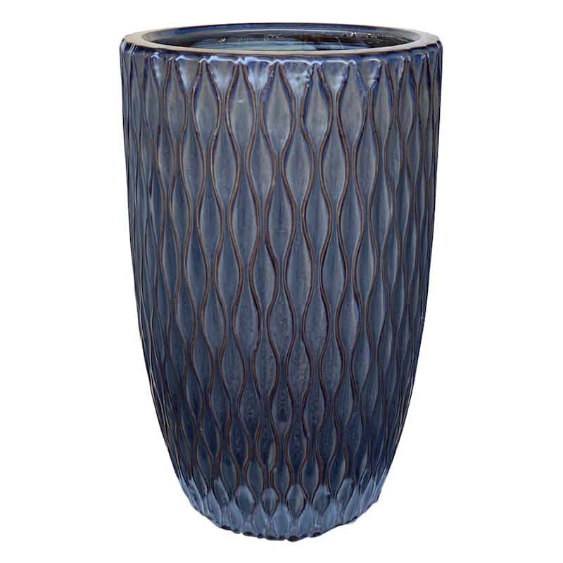 Quilted Ceramic Planter 9.4in. Mist Black