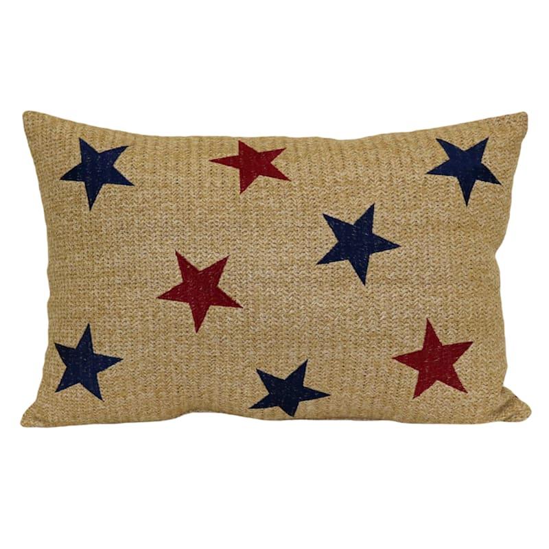 Patriotic Stars Hermosa Embroidery 14X20 Indoor/Outdoor Decorative Pillow