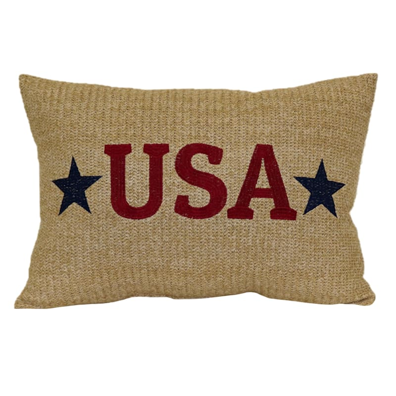 USA Hermosa Embroidery 14X20 Indoor/Outdoor Decorative Pillow