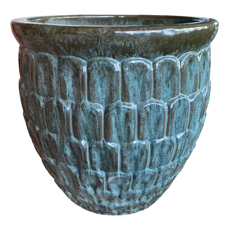 Crown Ceramic Planter 11in. Moss Green