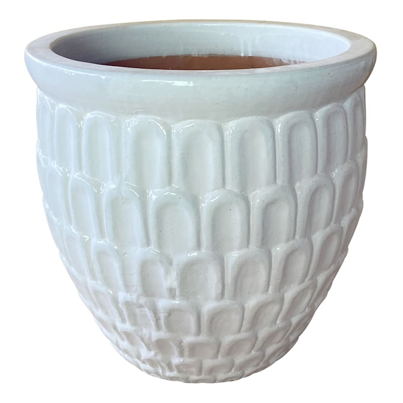 Crown Ceramic Planter 15in. White