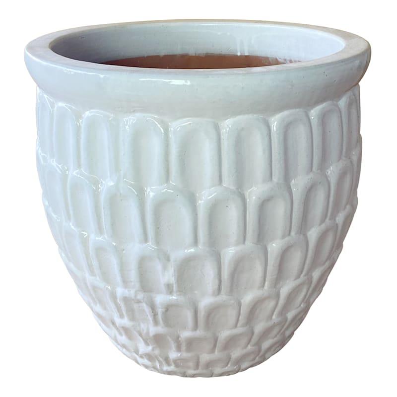 Crown Ceramic Planter 11in. White