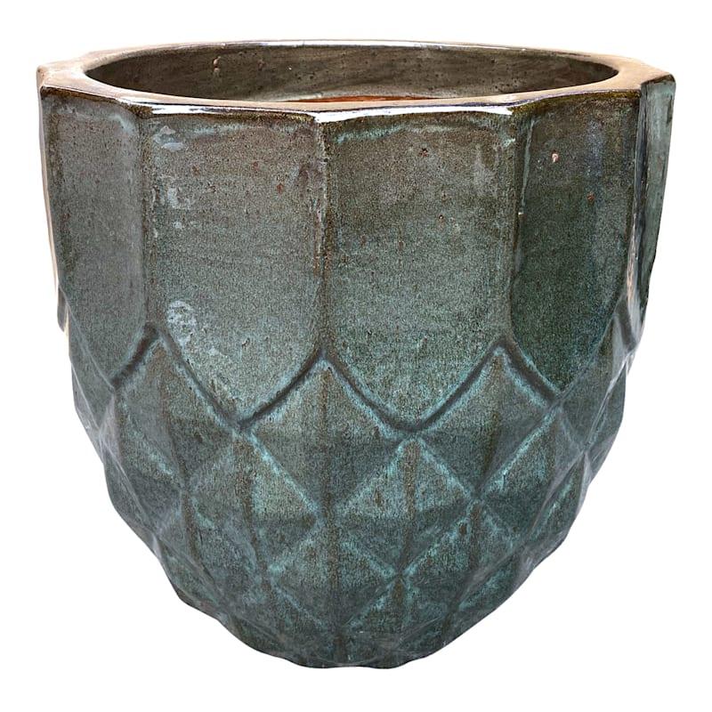 Layla Ceramic Planter 11in. Moss Green