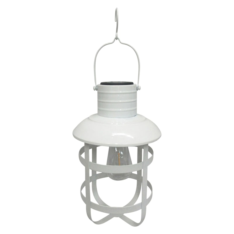 Metal Farmhouse Lantern/Frosted Glass Ball/Solar Panel On Top