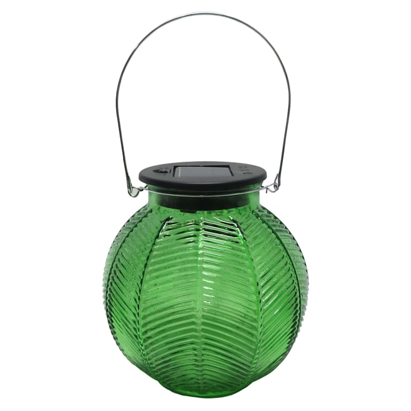 Glass Round Green Lantern/Solar Powered Led String Lights
