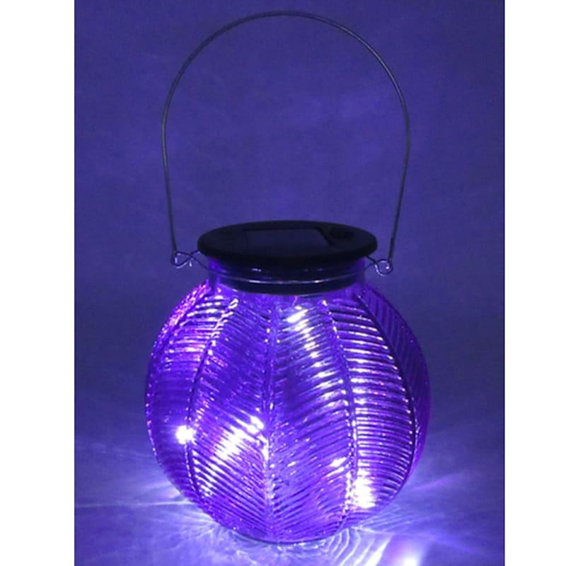 Glass Round Purple Lantern/Solar Powered Led String Lights