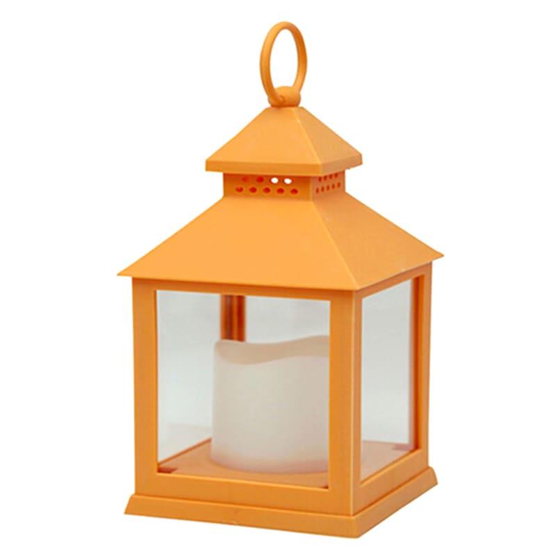 4X10 Weatherproof Plastic Lantern/Led Candle Orange