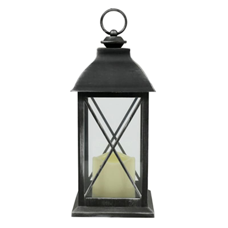 5X12 Plastic Lantern Weatherproof W/Led Candle Crisscross Timer Black/Silver