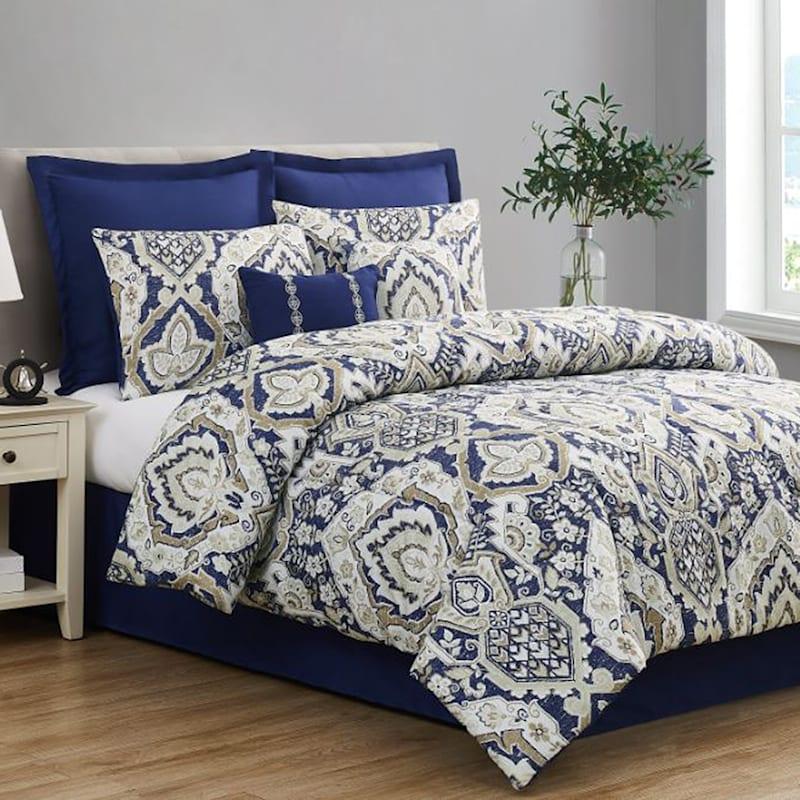 Capri Navy Blue 8-Piece Comforter Set, Queen