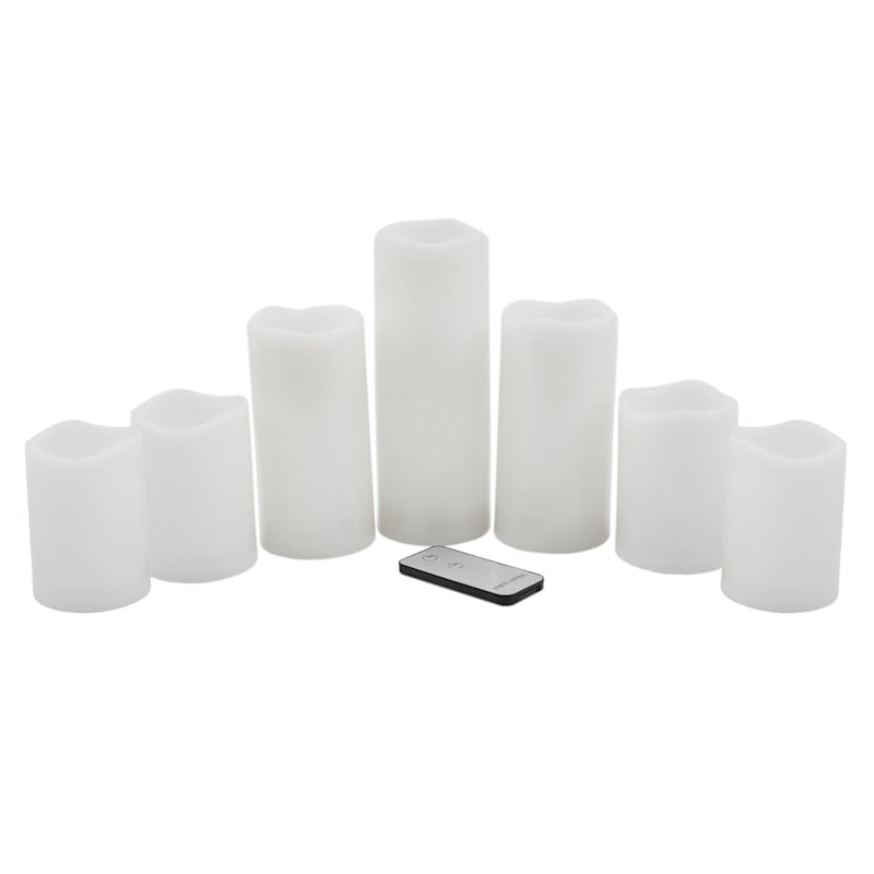 7-Piece Outdoor LED Candle Set, White