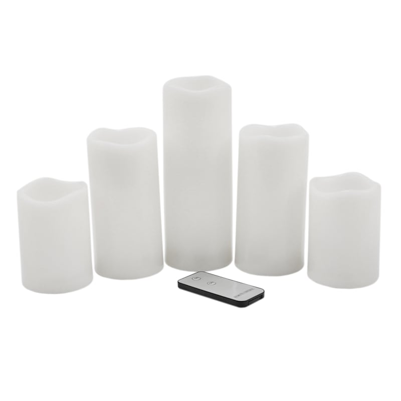 5-Piece Outdoor LED Candle Set, White