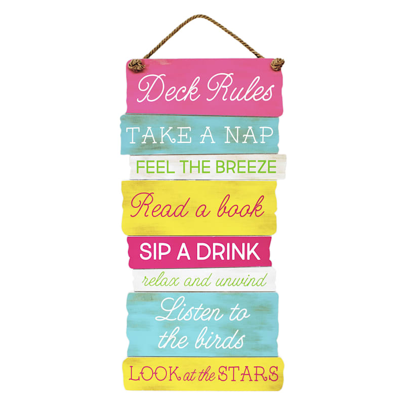 15X30 Deck Rules Summer Hanging Wood Sign