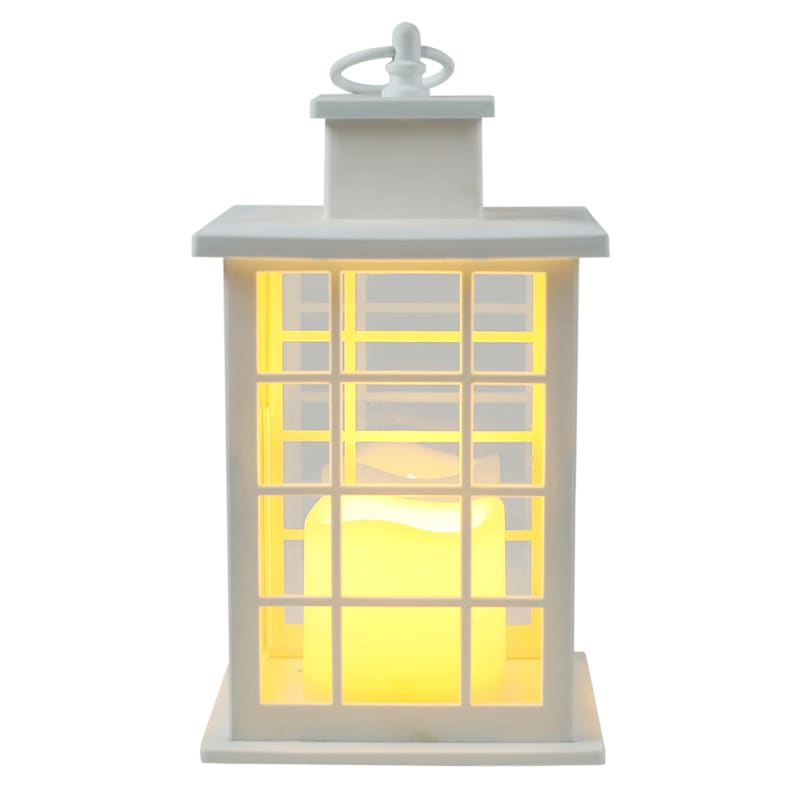 6X10 Plastic Lantern Weatherproof W/Led Candle Multipaned Timer White