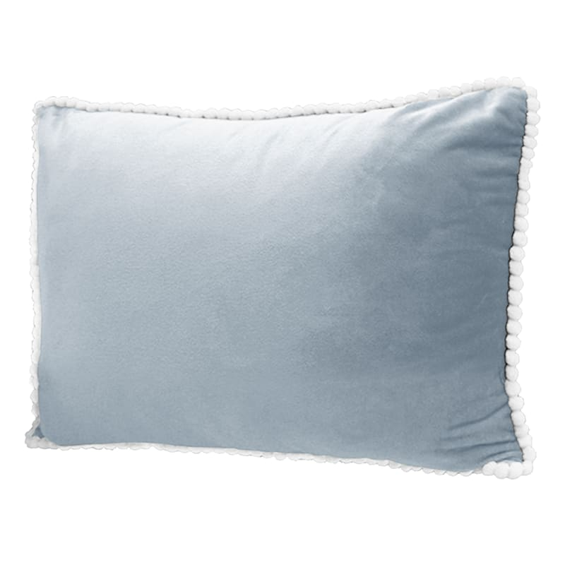 Ana Mineral Pearl Oblong Throw Pillow with Pom-Poms 24x16