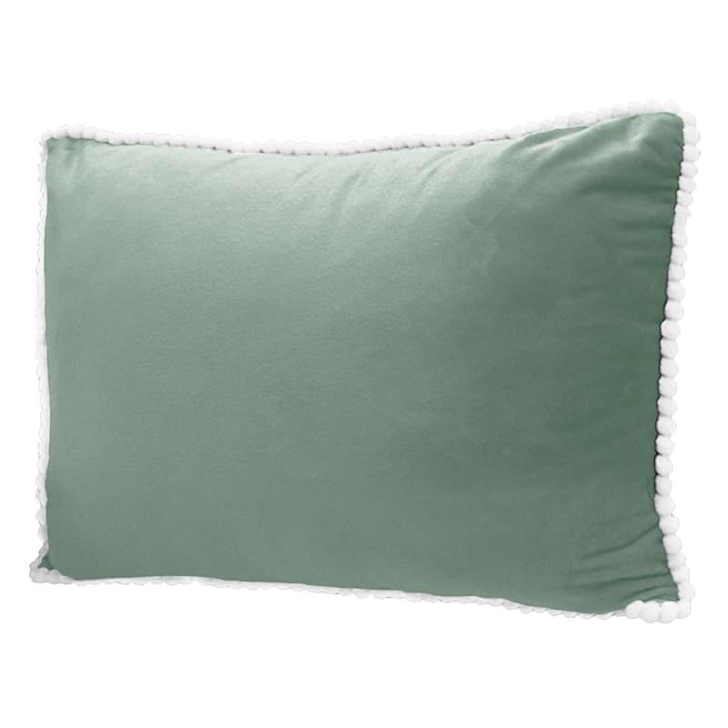 Ana Seafoam Pearl Oblong Throw Pillow with Pom-Poms 24x16