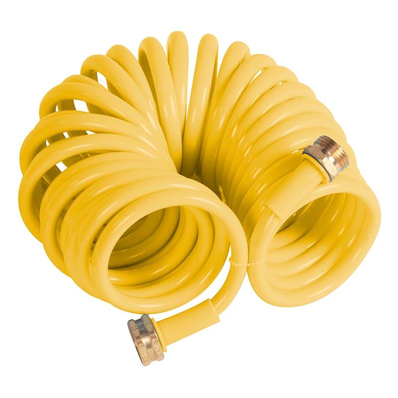 25ft. Recoil Garden Hose/Brass Couplings Yellow