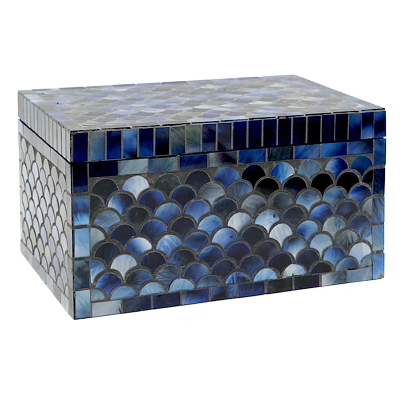 "Blue Mosaic Box, 9"""