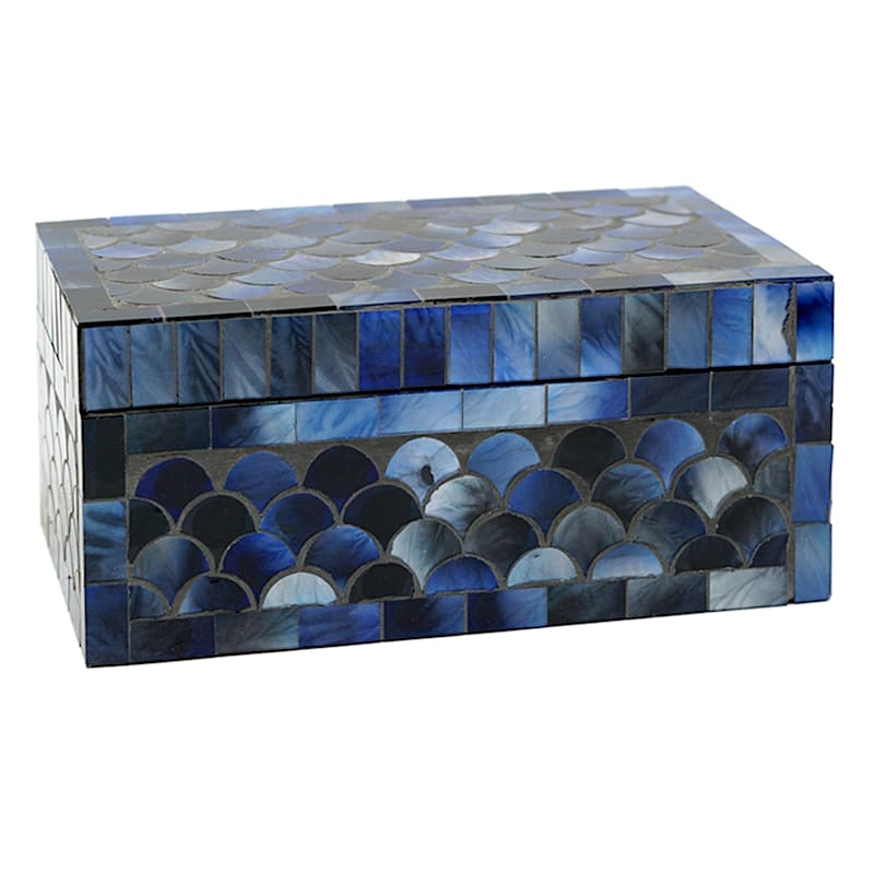 "Blue Mosaic Box, 7"""