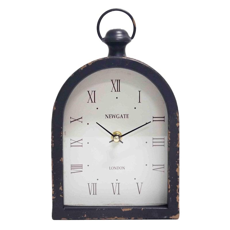 10in. Black Metal Table Clock