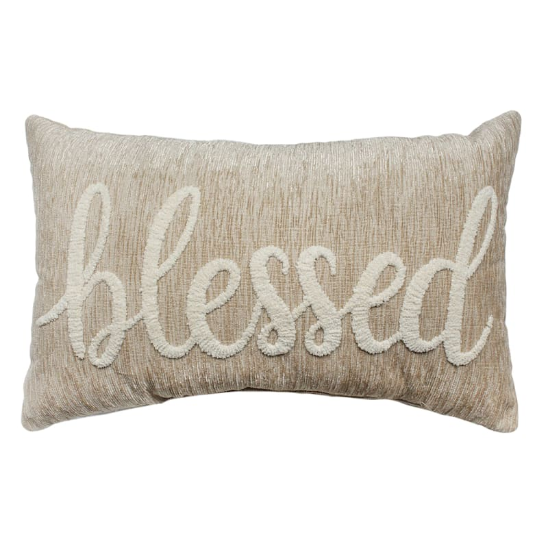 """Blessed Beige Stitched Throw Pillow, 12"""""""