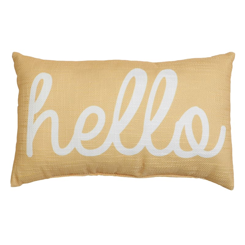 Ladee Hello Throw Pillow, Yellow