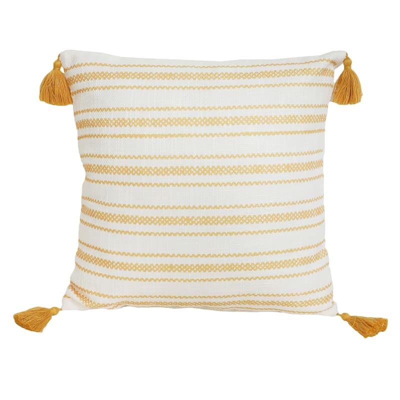 """Fredrick Striped Throw Pillow, 18"""" square, Yellow"""