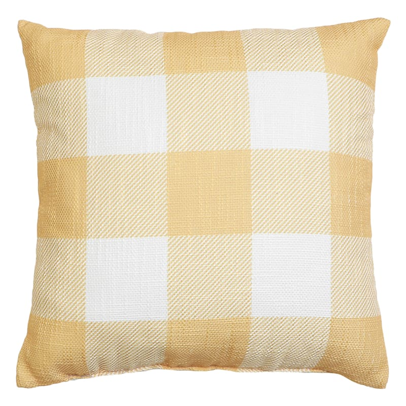 """Borden Buffalo Throw Pillow, 18"""" square, Yellow"""
